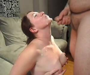 She lets her horny neighbor, her mouth face and tits full of sperm spui...