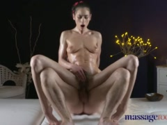 Massage Rooms Hairy pussy natural tits babe has loud squirting orgasm