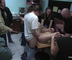 Hot amateur fucked in diner and made to give bjs to strangers
