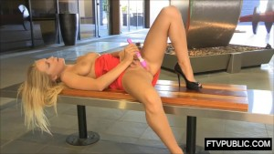 Hot blonde public self sex in business area