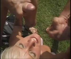 Slim German blonde went to the countryside and had many sex adventures with local guys