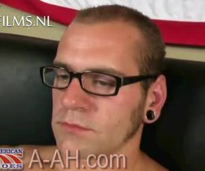 Muscular tough looking gay soldier pulls on his big cock