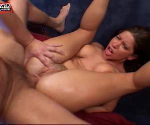 Two stiff dicks to fuck her mouth pussy and anus