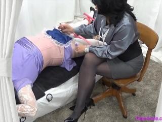 Femdom Mommy Mistress Milks Bound Sissy Crossdresser