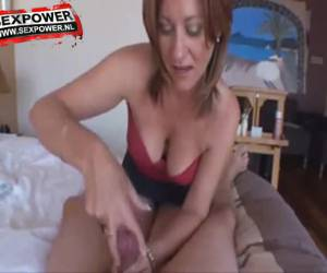 Mature slut pulls whiteh special technique, his stiff cock off
