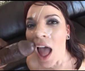 Dana DeArmond is playing with huge, glass dildo and then getting fucked by a black guy