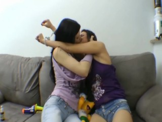 Lezdom Brazil deep kiss with ageplay