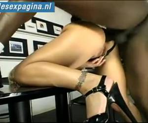 Blonde milf anal caught by large black cock