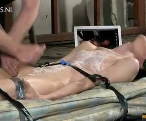 Twink tied up,tormented and satisfied