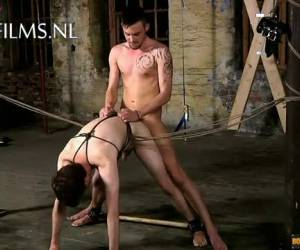 Tied up slave hard anal fucked by his Master
