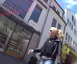 Sexy Blonde walks outside with her sunglasses full of sperm