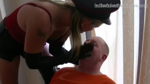 Smoking leather clad blonde Mistress in gloves and boots fetish domination session with inmate slave bitch