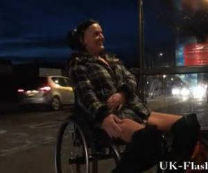 Sexy naughty girl in a wheelchair naked