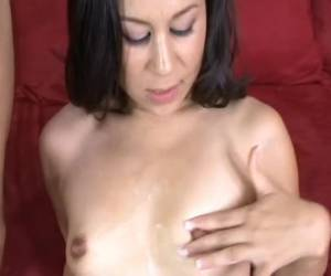 Pulling on his thick cock he enters the small tits is ready