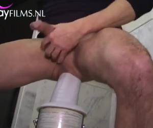 The elephant trunk dildo goes all the way to his anus in