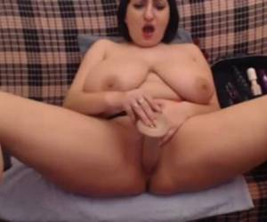 Webcam babe whiteh huge fat tits tit fucks dildo