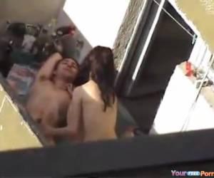 cazzo giovane coppia catturati sul balcone