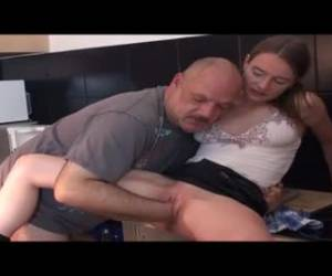 The girl masturbate and then the older mans hair whiteh his fist fucks