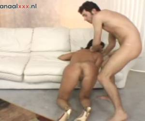whiteh her door wide open, the stiff cock enters her pussy fucking