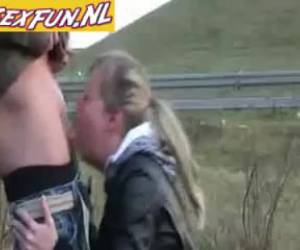 As fat oral sex along the highway
