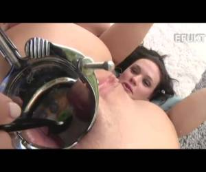 Horny bitch gets her breakfast in her anus served