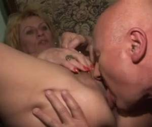 Mature blonde was horny and decided to masturbate, but her husband showed up and fucked her hard