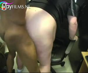 Sexy black man fucks fat white man in his ass