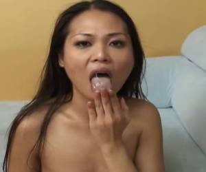 squeesing and pulling on his thick cock squirts he cum in her mouth