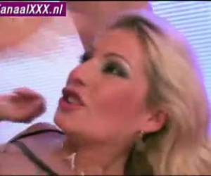 Blonde slut during gangbang in all her holes fucked