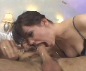 Deep his stiff cock in her mouth and then her nose and squeeze