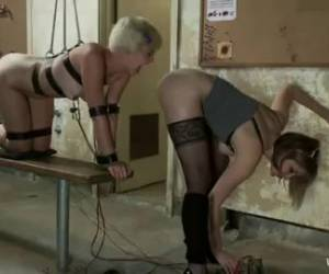 Lesbian electro play and anal sex