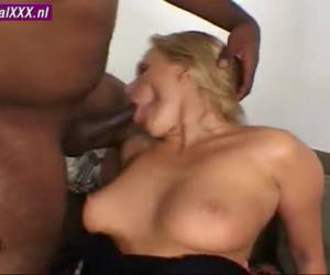 The sweat of the guts of her naked body as she gets taken by two black dicks