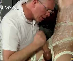 Horny young slave is trained in tap whiteh his big cock
