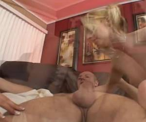Two small bisex girls blowjob and be fucked by the big cock